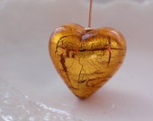 22mm Murano Glass Heart Bead, Unusual Size