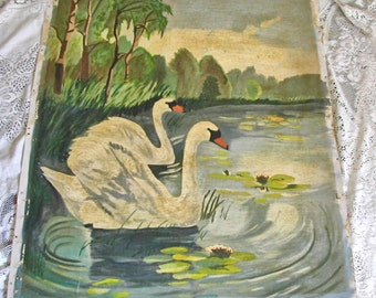Graceful Swans on Peaceful Lake Pond Lily Pads Antique Oil on Canvas Painting
