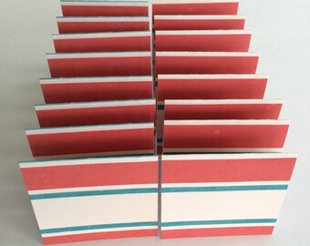Mini Cards 16 Teal Red Cream Stripe - blank for thank you notes 3 x 3