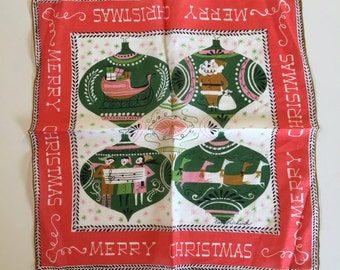 Vintage Pat Prichard Chrismas Handkerchief Hanky