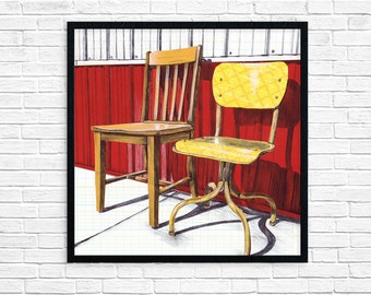 Chair Art Print - Scratch Brewery - Southern Illinois - Mixed Media Print - Wall Art - Home Decor - Square Print - Vintage Chairs - Under 25