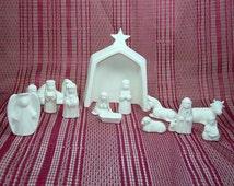 Handmade Ceramic Nativity Set / Ceramic Bisque / Bisque Ware / Ceramics to Paint / Ready to Paint Ceramic Nativity / Christmas Scene