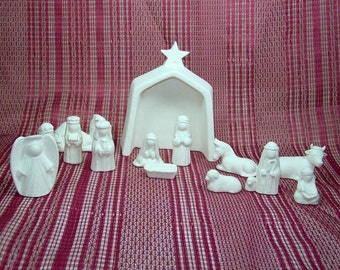 Handmade Ceramic Nativity Set / Ceramic Bisque / Bisque Ware / Ceramics to Paint / Ready to Paint Ceramic Nativity / Christmas Scene