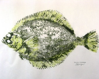 Pacific Flounder Art Original GYOTAKU Fish Rubbing 12X18 on Rice paper Boat House gift