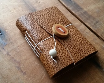 Brown Textured Leather, wood button,Small Handbound Leather Journal Book