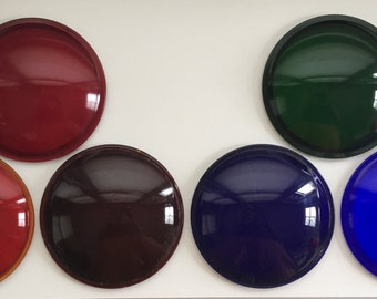 Set of 6 Multi-color Vintage Glass Theater Stage Lighting Lenses