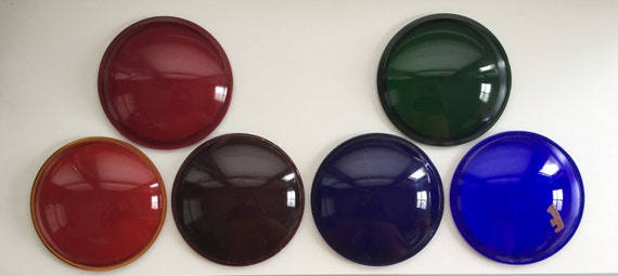 Set of 6 Multi-color Vintage Glass Theater Stage Lighting