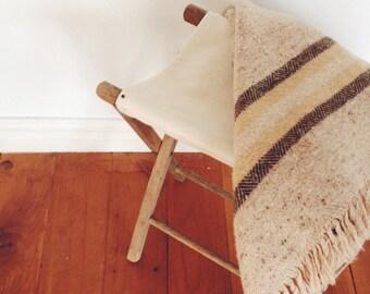Vintage Handwoven Rug or Throw,  Irish Avoca Hand Weavers Wool