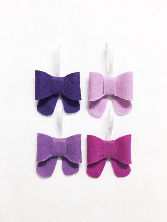 Bow Ornament, Ornament Set - Silent Night - Christmas Ornament, Purple Lavender Grape Lilac