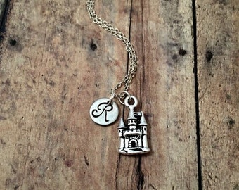 Castle initial necklace - castle jewelry, silver castle necklace, princess necklace, fairy tale jewelry, princess jewelry, storybook jewelry