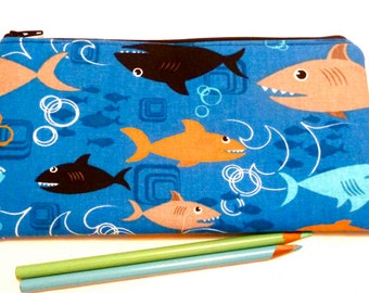 Pencil Pouch - Zippered Pouch - Organizer - Fish - Gifts For Children