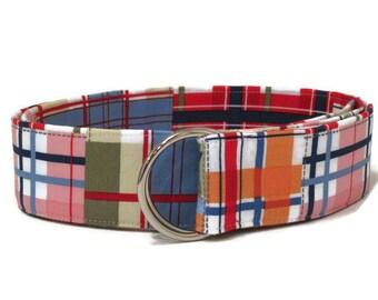 Women's Madras Plaid Belt / Pink Green Blue Belt / Preppy Fabric Belt / Patchwork Belt / Pink Blue Belt Spring Belt (W43)