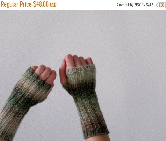Prefall Sale New Growth Hand Knit Lightweight Fingerless Gloves in Spring Green, Cream, and Light Brown