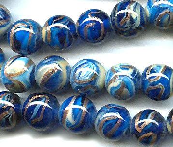 vintage glass beads, cobalt blue aventurina swirl japanese ART GLASS BEADS, 14mm aventurine