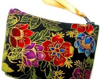Coin purse, Small coin purse, Small zippered coin purse, Zipper coin purse, Wallet,  Black garden
