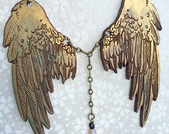 Bronze Raptor Wings pendant - puppetry pendant