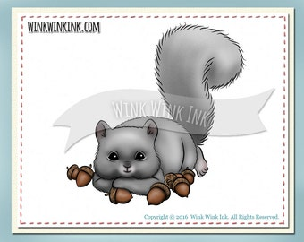 Digital Stamp - So Blessed - squirrel with acorns - wildlife digistamp