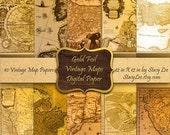 SALE 30% Off Digital Papers Commercial Use Vintage Maps Gold Foil Copper Instant Digital Download No. 52