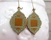 Bohemian earrings Ethnic earrings Arabesque  Moroccan earrings kidney ear wire Patina Bohemian Jewelry