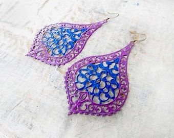 Big Gypsy earrings blue purple colorful Boho jewelry