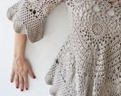 20% WINTER SALE Latte Crochet Sweater by Afra