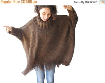 CLEARANCE 50% Brown Turtleneck Sweater with Fringe Plus Size Over Size