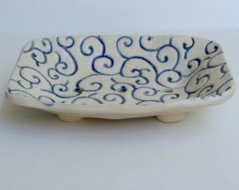 Ceramic Soap Dish, Footed, Handmade, karakusa pattern