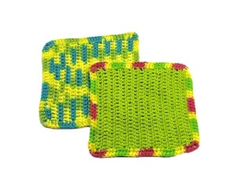 Vintage 80s 1980s Double Crochet Handmade Neon Square Doilies (Set of 2)