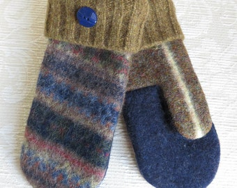 Repurposed Sweater Wool Mittens in Navy Blue, Olive Green and Brown, Adult Size