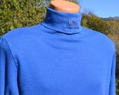 vintage 80s BRECKENRIDGE ski turtleneck colorado long sleeve t-shirt XL Large layer one blue