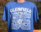 90s vintage t-shirt GLENFIELD high school class of 1995 student list blue wildcats tee  XL Large soft