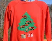 vintage 80s sweatshirt crazy CHRISTMAS sweater applique raglan 3D jingle bells Medium Large wtf