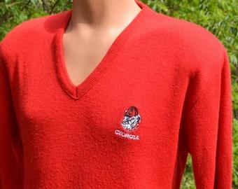 vintage 70s v-neck sweater university of GEORGIA bulldogs uga football Medium Small 80s soft red