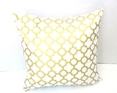 Gold Pillow Cover Metallic Gold Pillow Covers, White Gold Quartrefoil Pillow, Throw Pillow Cushion Cover, Square, Lumbar Pillow, Rectangle