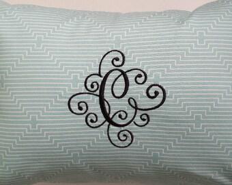 "Custom Monogram Pillow, 12"" x 18"" Lumbar Pillow Cushion/Blue/Green/Wedding/Anniversary/Nursery/Bridal Showers/Wedding Decor/INSERT INCLUDED"