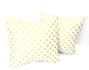 Metallic Gold White Gold Quatrefoil Pillow Covers Throw