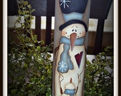 Primitive Holiday Snowman Wood Rolling Pin Kitchen Decoration Winter Home Decor