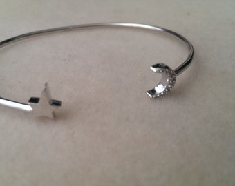 I will give you the moon and the stars handmade sterling silver cuff bracelet