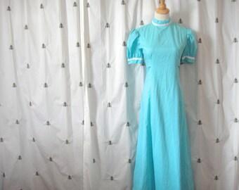 ON SALE!  Vintage Turquoise Polka Dot Dress, Blue with White Polka Dots, Rik Rak Trim, Bow, Small, 1960s Flower Child, Seamstress Dream