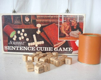 Vintage Scrabble Sentence Cube Game, Word Game, Word Cubes, Sweet Nothings, Family Game Night