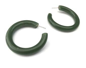 Green Hoops | Jade Green Hoop Earrings | vintage lucite large tube hoop earrings