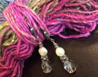 Handmade Earrings, Pearl Earrings, Crystal Earrings, Dangle Earrings