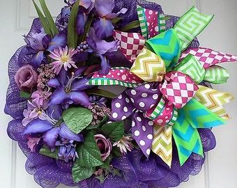Summer Wreath-Front Door Wreath- Wreaths-Purple Mesh Wreath