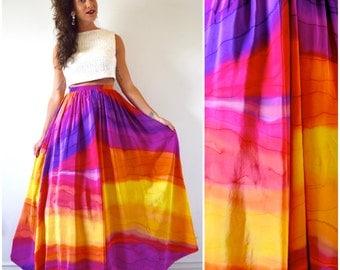 Vintage 90s Rainbow Goddess High Waisted Flowing Maxi Skirt (size small, medium)