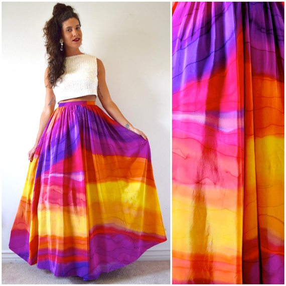 Vintage 90s Rainbow Goddess High Waisted Flowing Maxi Skirt (size small, medium)