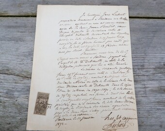 Antique 1892  old French notarial /old papers handwriten letter