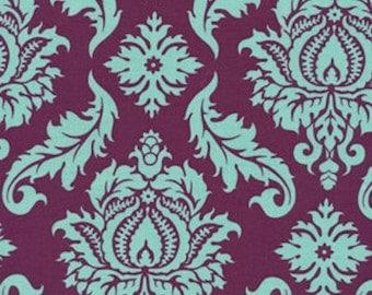 HALF YARD - Joel Dewberry Fabric, Aviary 2, Damask in Plum Purple