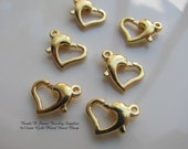 9x12mm Gold Plated Heart Clasp - 6 Clasp