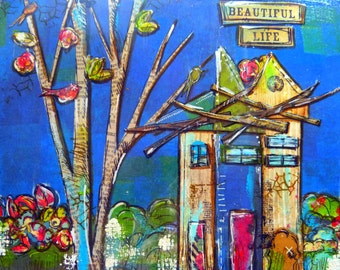 Mixed Media, village houses, collag - Beautiful Life