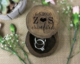 Wedding Engagement Ring Box, Proposal ring box, Custom Engraved Tree Ring Box, Wood Ring Box, Rustic Wooden Ring Box, Engagement Gift --6048